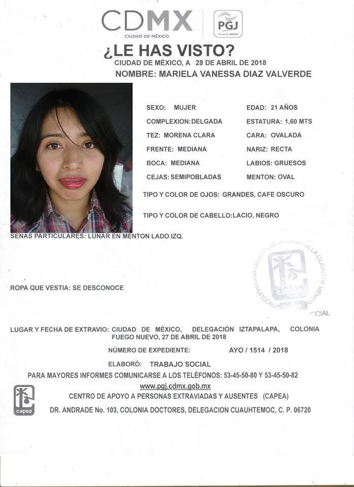 Ficha de desaparición PGJCDMX, Vanessa Díaz Valverde