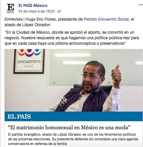 Hugo Eric Flores, dirigente del PES, dijo que el matrimonio igualitario era una moda