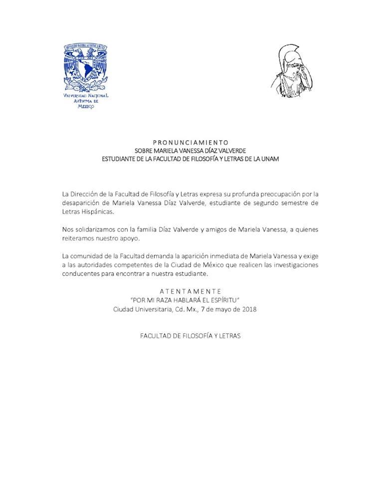 Pronunciamiento Facultad de Filosofía y Letras sobre caso Mariela Vanessa