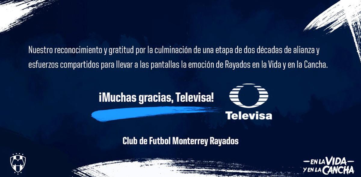 Rayados anunció separación de Televisa