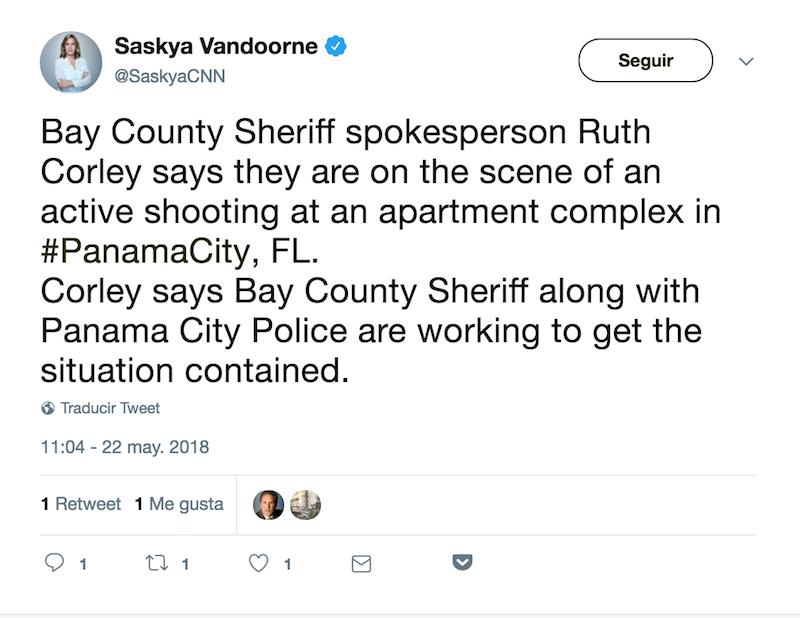 Tiroteo Florida Panama City Twitter Oficina del Sheriff