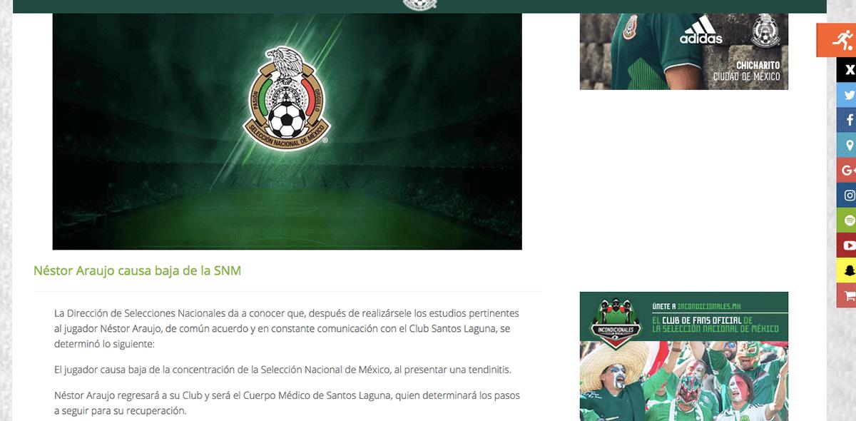 Tri confirmó baja de Néstor Araujo