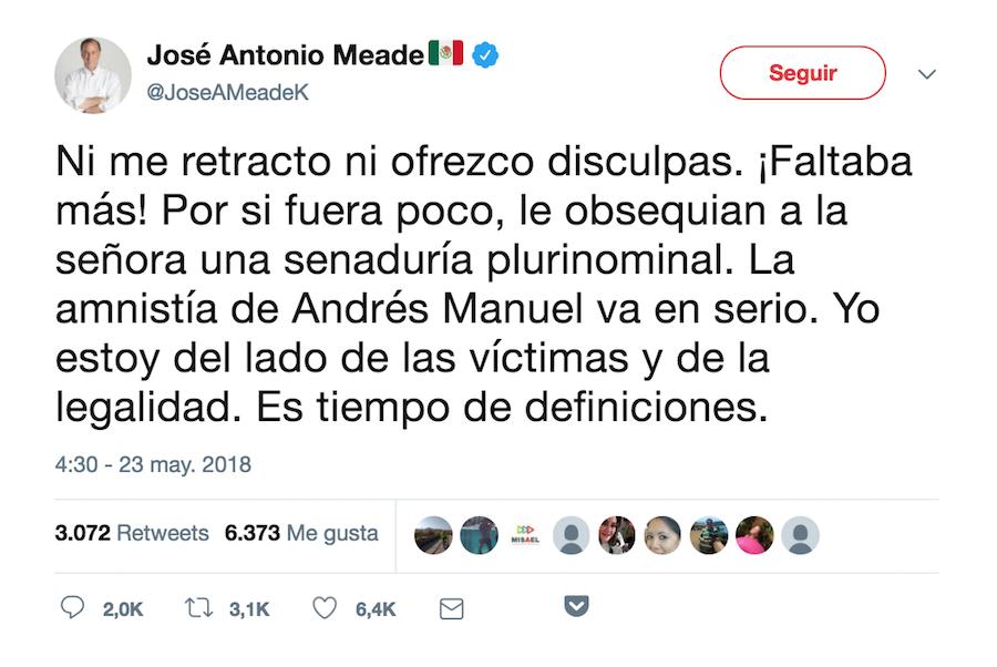 Tuit José Antonio Meade responde a Nestora Salgado no se disculpará