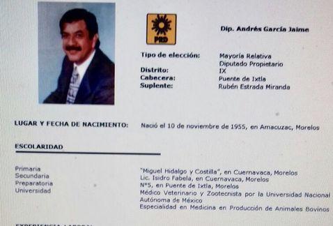 Andrés García Jaime, exalcalde de Amacuzac