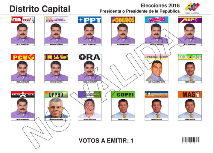 boleta venezuela elecciones 2018