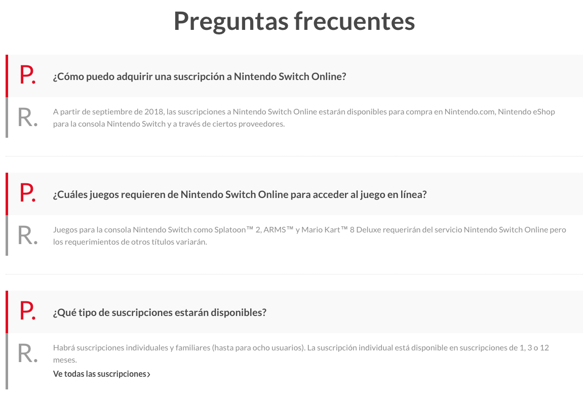 FAQ de Nintendo Switch