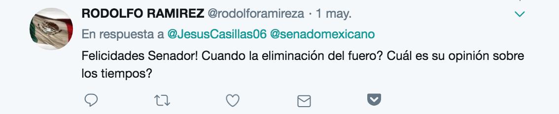 usuarios de Twitter eliminación del fuero senadores